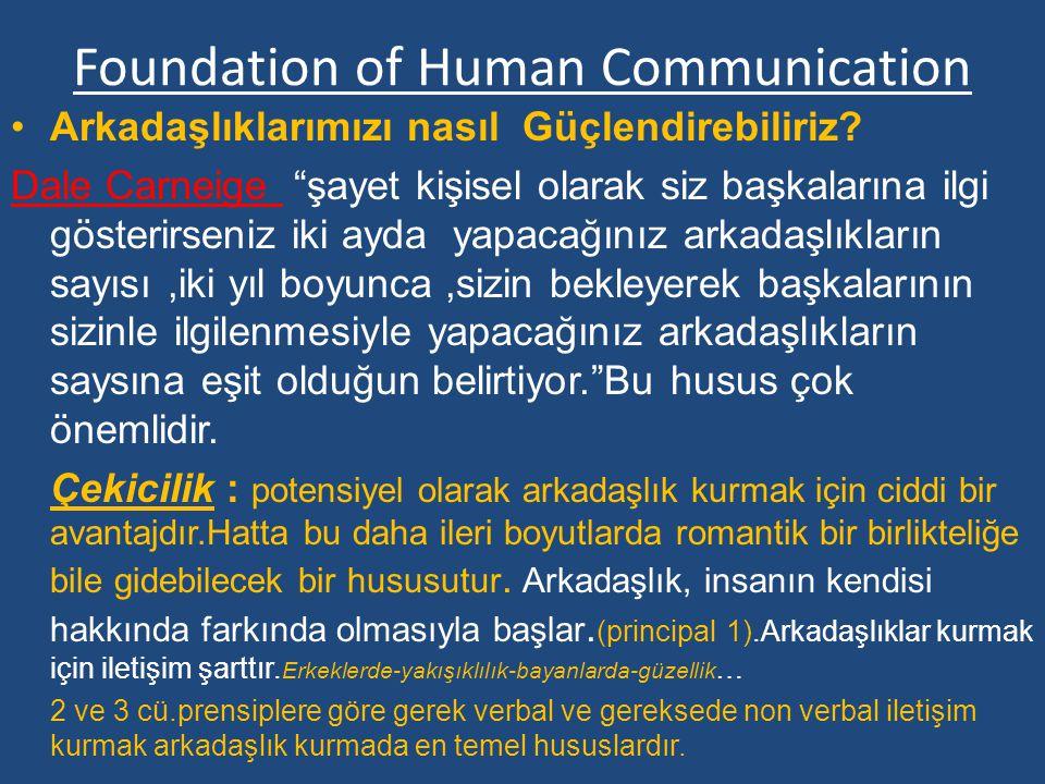 Foundation of Human Communication Ayrıca iyi bir dinleyici olmak ve gereken cevabı verebilmek iletişim becerisi için arkadaşlıkta çok önemlidir.(prensip 4) Hani derler ya söz gümüş ise dinlemek altındır Bu ayrıca,karşıdakine bir saygı belirtisidir.insanlar biribirlerine olan saygılarını biribirlerini dinlemek suretiyle gösterebilir.