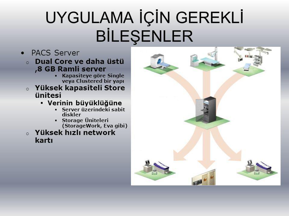 UYGULAMA İÇİN GEREKLİ BİLEŞENLER PACS Server o Dual Core ve daha üstü,8 GB Ramli server  Kapasiteye göre Single veya Clustered bir yapı o Yüksek kapa