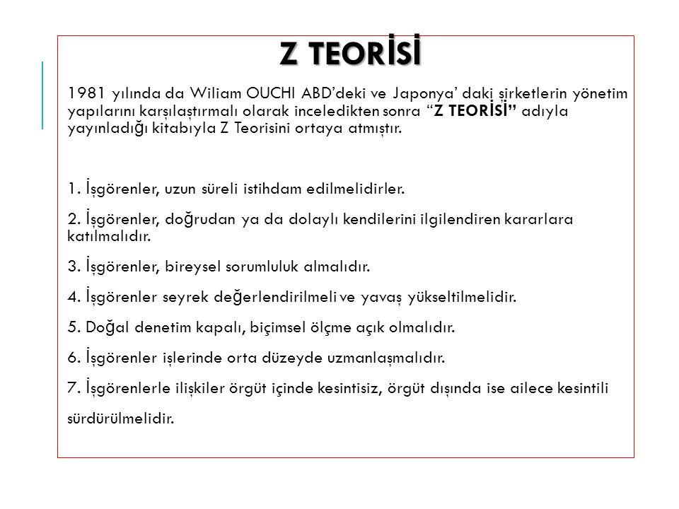 Z TEOR İ S İ Z TEOR İ S İ 1981 yılında da Wiliam OUCHI ABD'deki ve Japonya' daki şirketlerin yönetim yapılarını karşılaştırmalı olarak inceledikten so