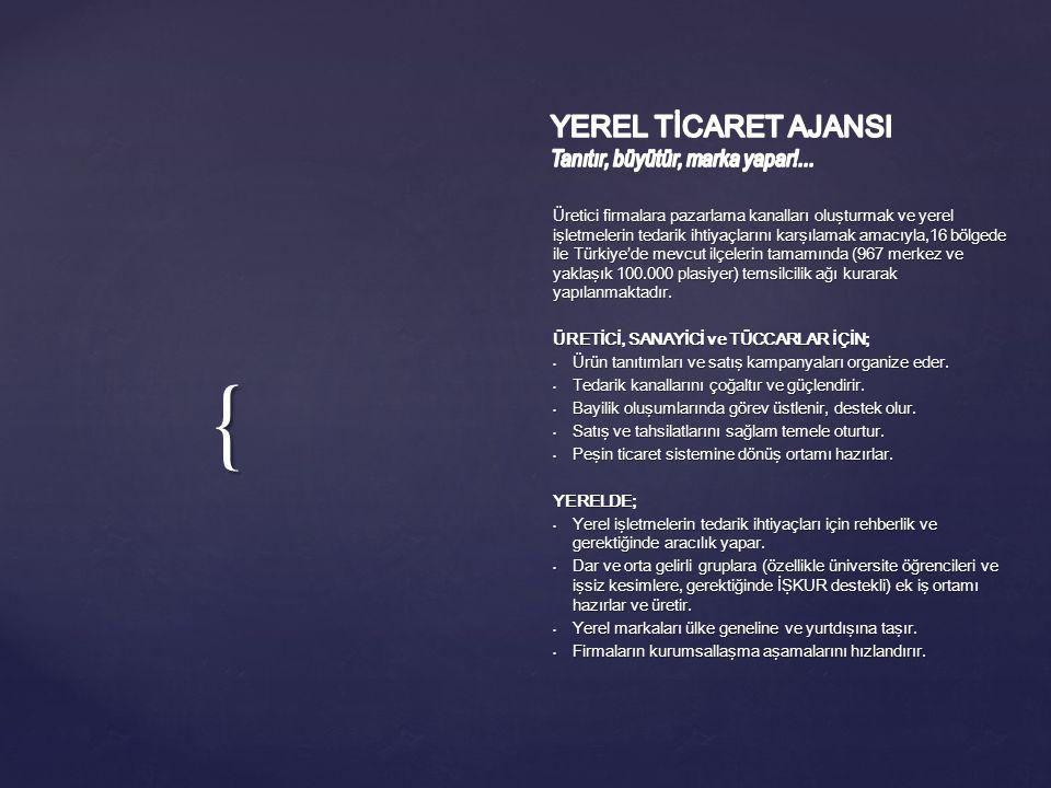 { Üretici firmalara pazarlama kanalları oluşturmak ve yerel işletmelerin tedarik ihtiyaçlarını karşılamak amacıyla,16 bölgede ile Türkiye'de mevcut ilçelerin tamamında (967 merkez ve yaklaşık 100.000 plasiyer) temsilcilik ağı kurarak yapılanmaktadır.