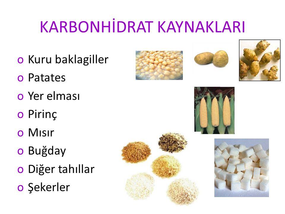 KARBONHİDRAT KAYNAKLARI oKuru baklagiller oPatates oYer elması oPirinç oMısır oBuğday oDiğer tahıllar oŞekerler