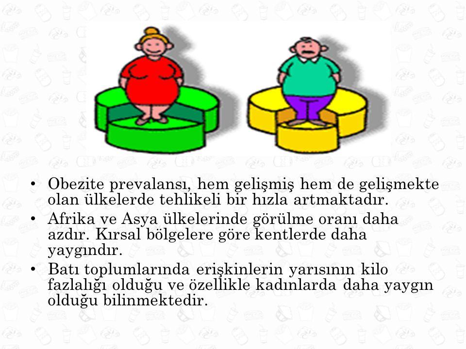 Obezite prevalansı, hem gelişmiş hem de gelişmekte olan ülkelerde tehlikeli bir hızla artmaktadır. Afrika ve Asya ülkelerinde görülme oranı daha azdır