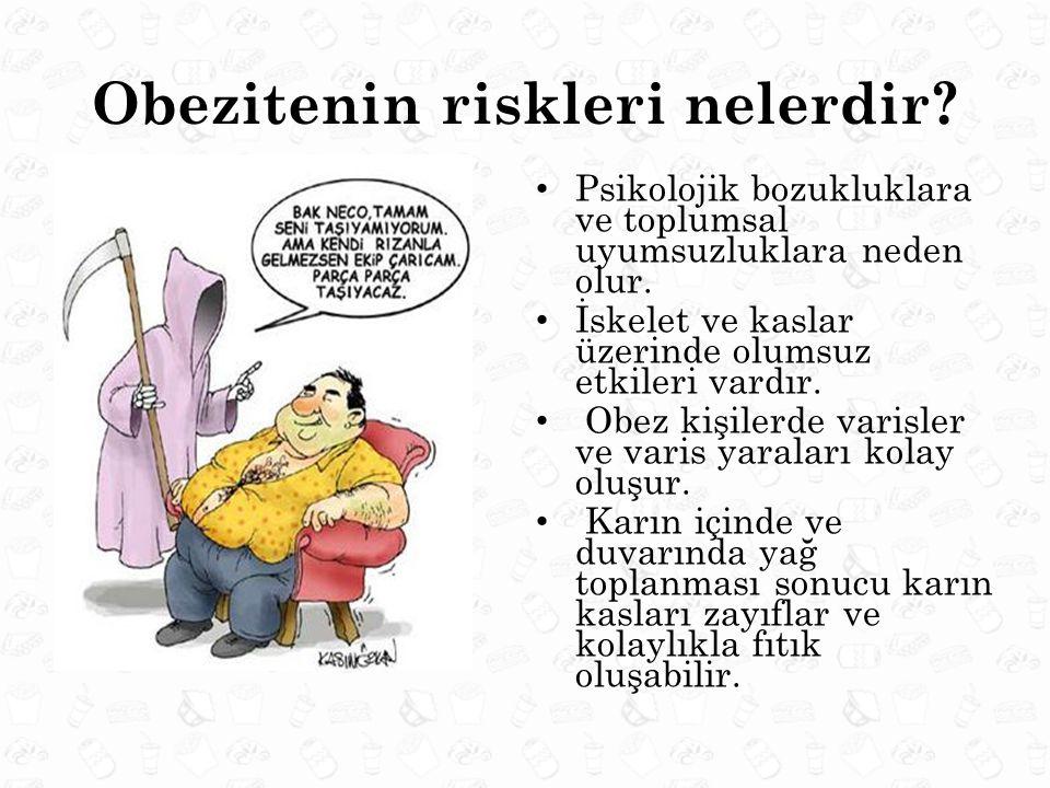 Obezitenin riskleri nelerdir? Psikolojik bozukluklara ve toplumsal uyumsuzluklara neden olur. İskelet ve kaslar üzerinde olumsuz etkileri vardır. Obez