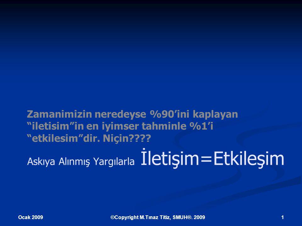 Ocak 2009 12©Copyright M.Tınaz Titiz, SMUH®.2009 Daha da açıkçası.