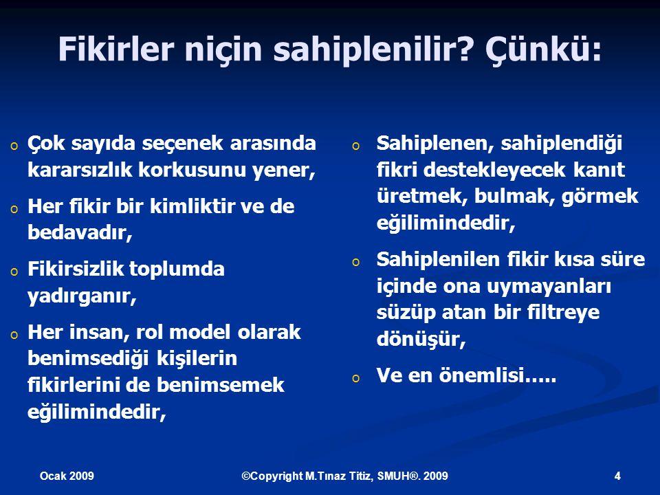 Ocak 2009 4©Copyright M.Tınaz Titiz, SMUH®. 2009 Fikirler niçin sahiplenilir.