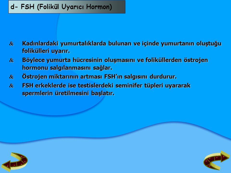 d- FSH (Folikül Uyarıcı Hormon)  Kadınlardaki yumurtalıklarda bulunan ve içinde yumurtanın oluştuğu folikülleri uyarır.  Böylece yumurta hücresinin