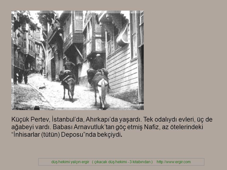 düş hekimi yalçın ergir ( çıkacak düş hekimi - 3 kitabından ) http://www.ergir.com Küçük Pertev, İstanbul'da, Ahırkapı'da yaşardı.