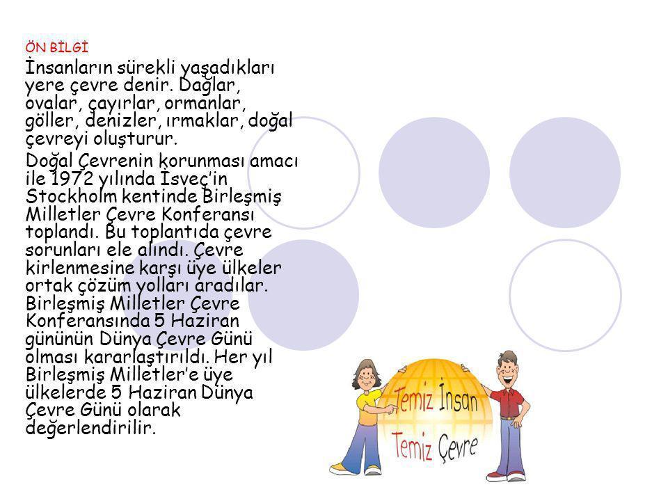 Ülkemizde bu amaçla 1978 yılında Türkiye Çevre Sorunları Vakfı, daha sonra Çevre Müsteşarlığı kuruldu.