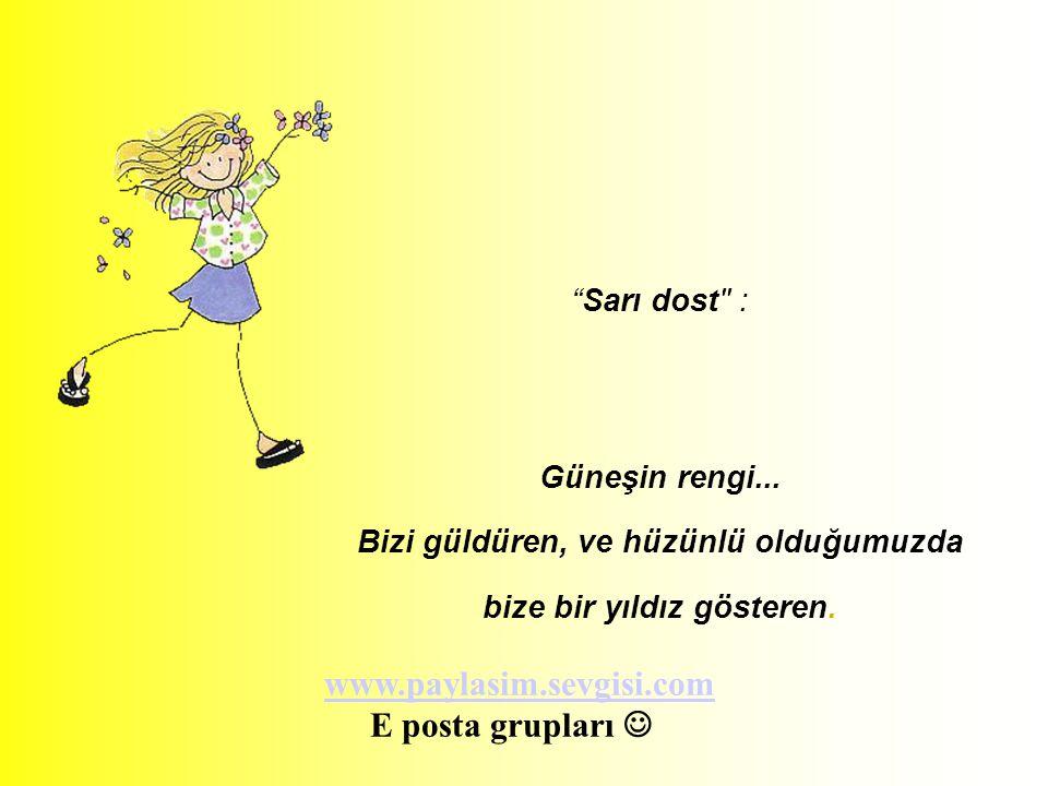 Sarı dost : Güneşin rengi...Bizi güldüren, ve hüzünlü olduğumuzda bize bir yıldız gösteren.