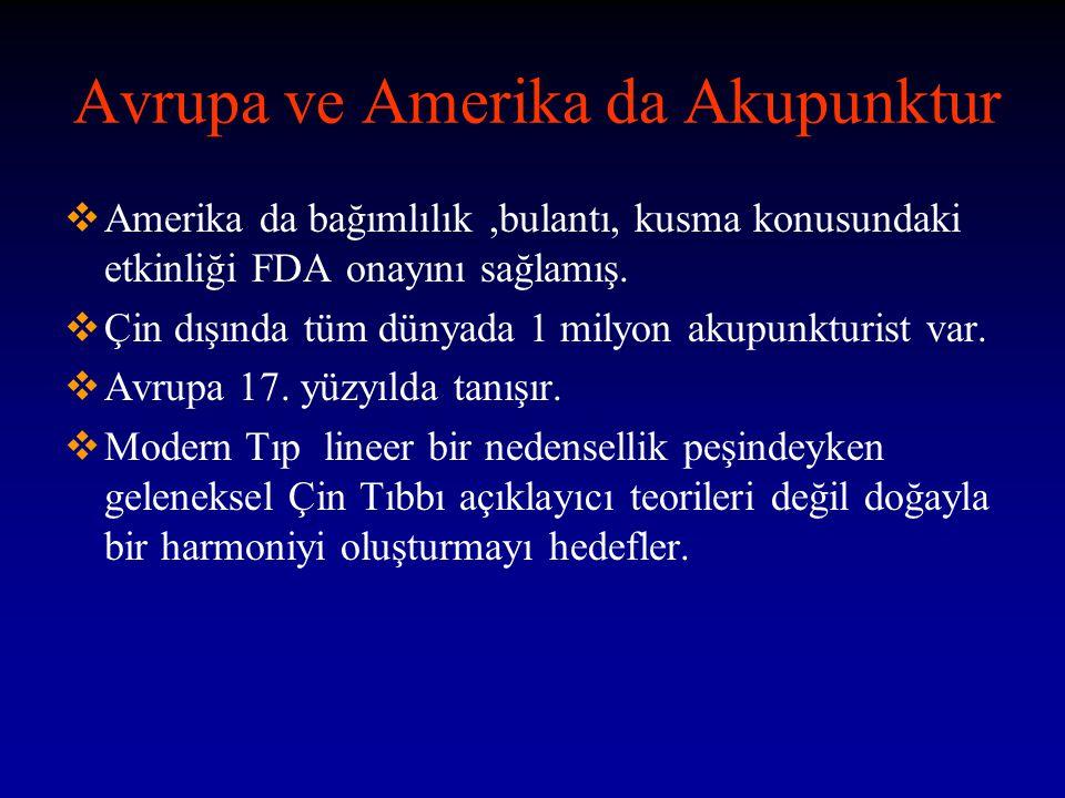 Avrupa ve Amerika da Akupunktur  Amerika da bağımlılık,bulantı, kusma konusundaki etkinliği FDA onayını sağlamış.