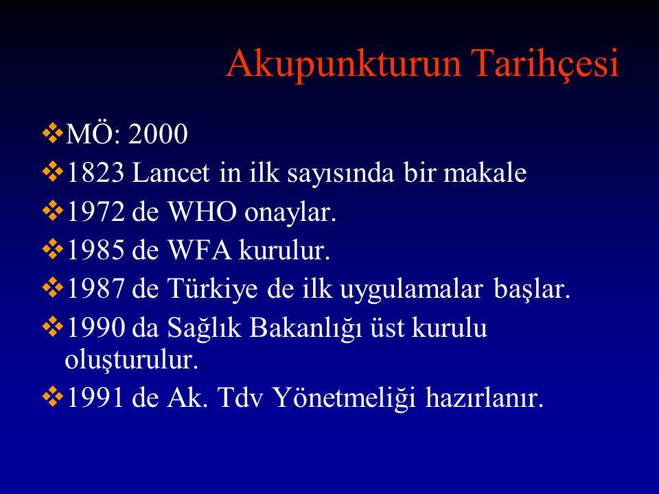 Akupunkturun Tarihçesi  MÖ: 2000  1823 Lancet in ilk sayısında bir makale  1972 de WHO onaylar.