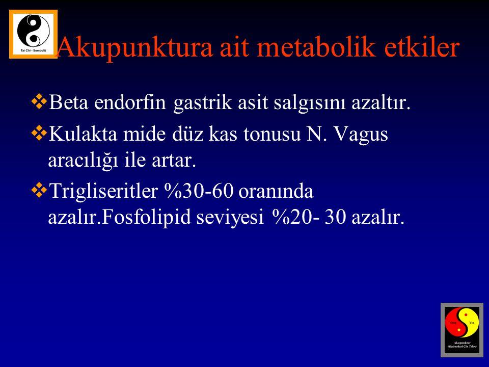 Akupunktura ait metabolik etkiler  Beta endorfin gastrik asit salgısını azaltır.