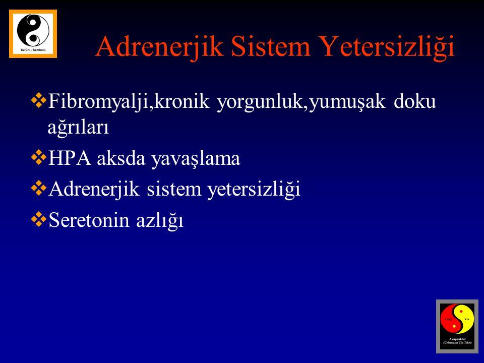 Adrenerjik Sistem Yetersizliği  Fibromyalji,kronik yorgunluk,yumuşak doku ağrıları  HPA aksda yavaşlama  Adrenerjik sistem yetersizliği  Seretonin azlığı