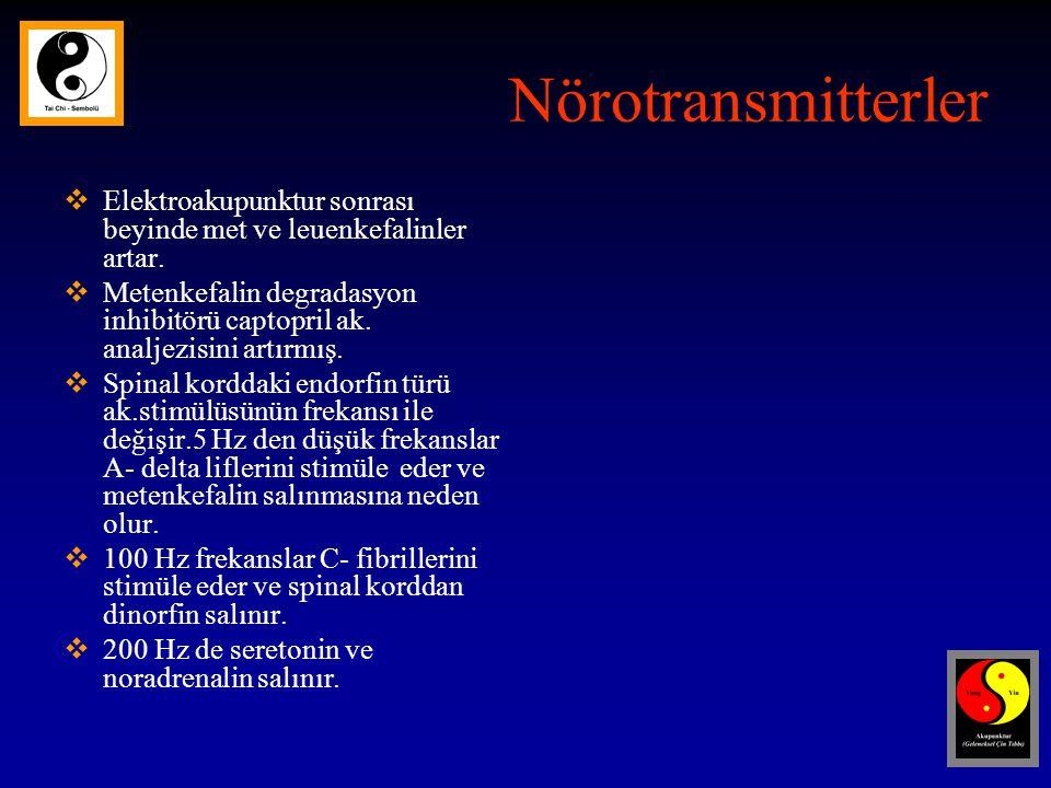 Nörotransmitterler  Elektroakupunktur sonrası beyinde met ve leuenkefalinler artar.