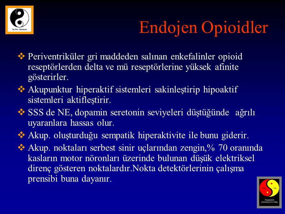 Endojen Opioidler  Periventriküler gri maddeden salınan enkefalinler opioid reseptörlerden delta ve mü reseptörlerine yüksek afinite gösterirler.
