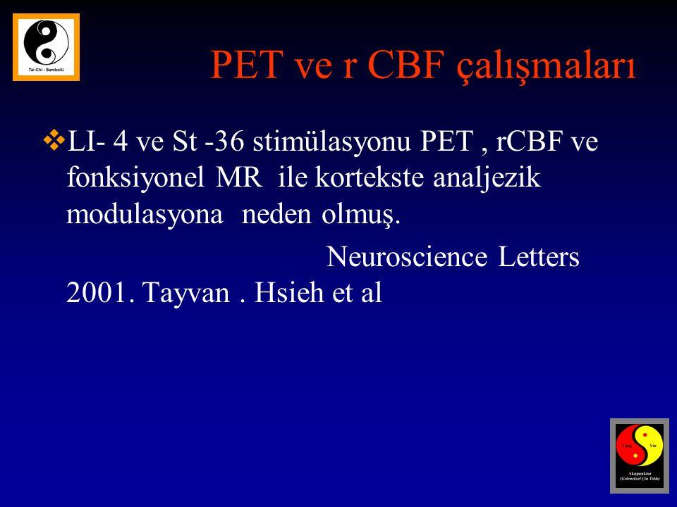 PET ve r CBF çalışmaları  LI- 4 ve St -36 stimülasyonu PET, rCBF ve fonksiyonel MR ile kortekste analjezik modulasyona neden olmuş.
