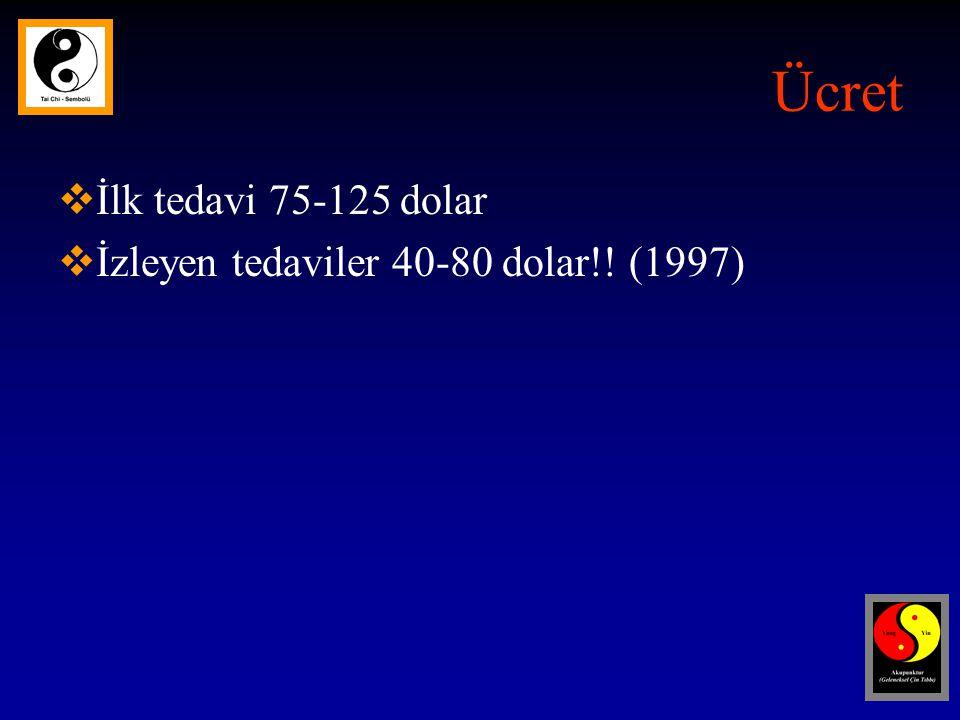 Ücret  İlk tedavi 75-125 dolar  İzleyen tedaviler 40-80 dolar!! (1997)
