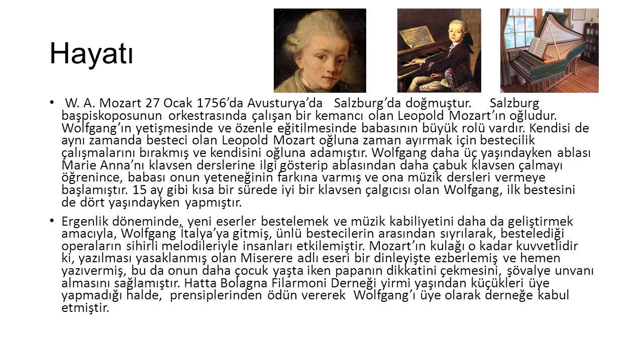 Hayatı W.A. Mozart 27 Ocak 1756'da Avusturya'da Salzburg'da doğmuştur.