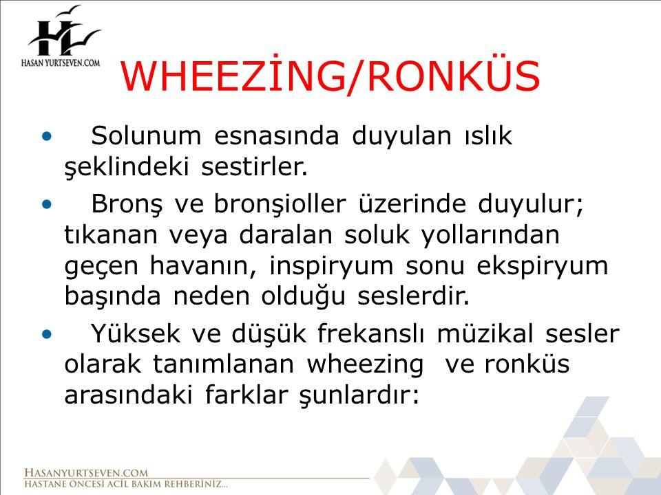 WHEEZİNG/RONKÜS Solunum esnasında duyulan ıslık şeklindeki sestirler. Bronş ve bronşioller üzerinde duyulur; tıkanan veya daralan soluk yollarından ge