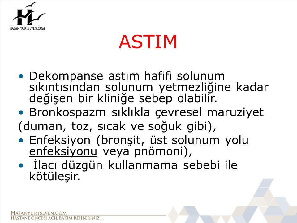 ASTIM Dekompanse astım hafifi solunum sıkıntısından solunum yetmezliğine kadar değişen bir kliniğe sebep olabilir. Bronkospazm sıklıkla çevresel maruz