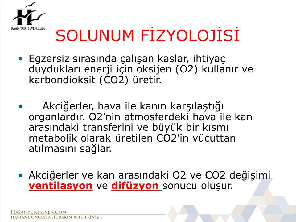 SOLUNUM FİZYOLOJİSİ Egzersiz sırasında çalışan kaslar, ihtiyaç duydukları enerji için oksijen (O2) kullanır ve karbondioksit (CO2) üretir. Akciğerler,