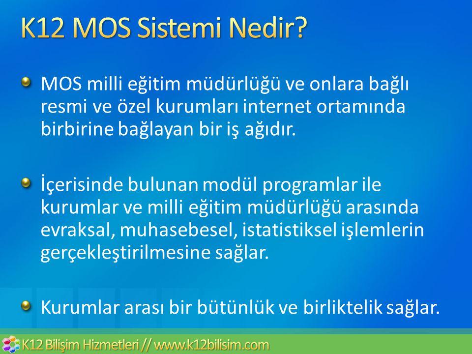 MOS milli eğitim müdürlüğü ve onlara bağlı resmi ve özel kurumları internet ortamında birbirine bağlayan bir iş ağıdır. İçerisinde bulunan modül progr