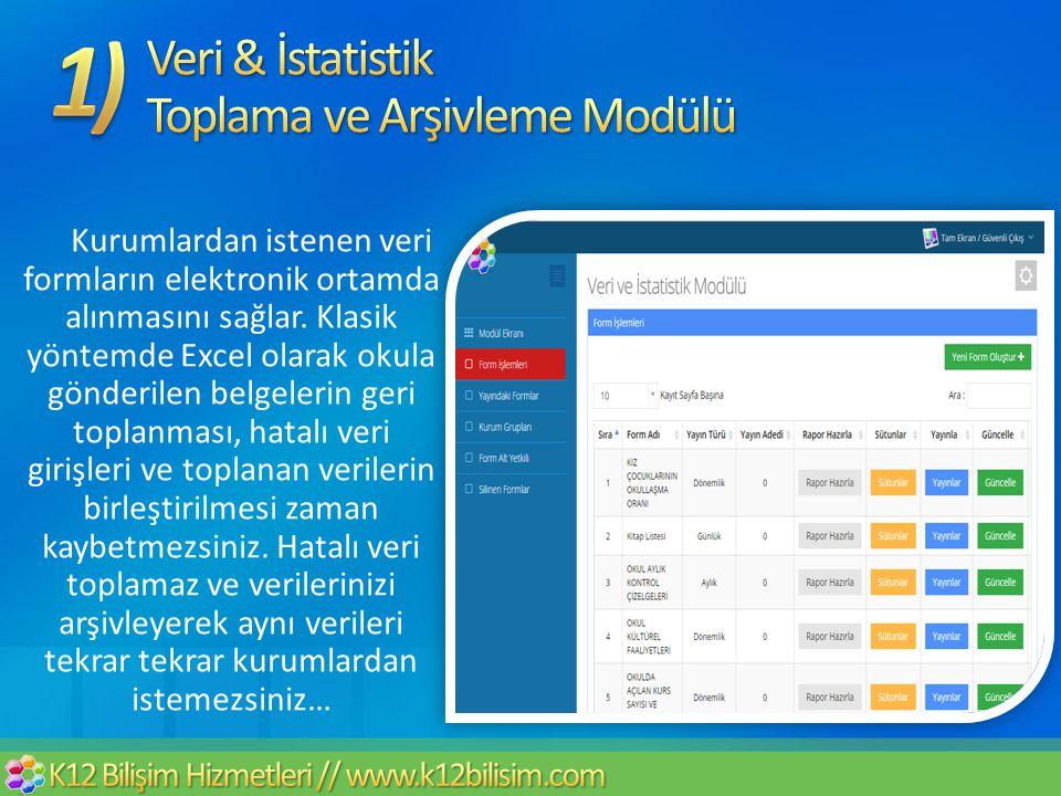 Kurumlardan istenen veri formların elektronik ortamda alınmasını sağlar. Klasik yöntemde Excel olarak okula gönderilen belgelerin geri toplanması, hat