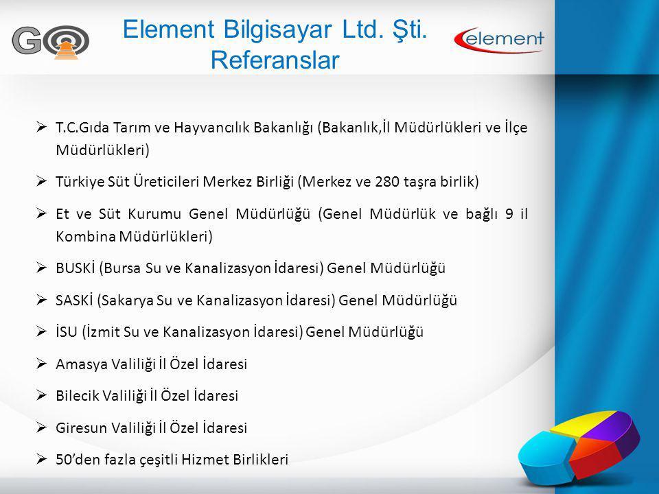 Element Bilgisayar Ltd. Şti. Referanslar  T.C.Gıda Tarım ve Hayvancılık Bakanlığı (Bakanlık,İl Müdürlükleri ve İlçe Müdürlükleri)  Türkiye Süt Üreti