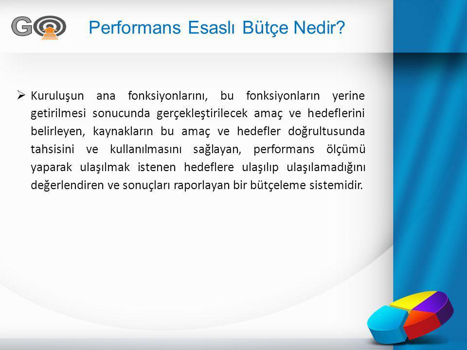 Performans Esaslı Bütçe Nedir?  Kuruluşun ana fonksiyonlarını, bu fonksiyonların yerine getirilmesi sonucunda gerçekleştirilecek amaç ve hedeflerini