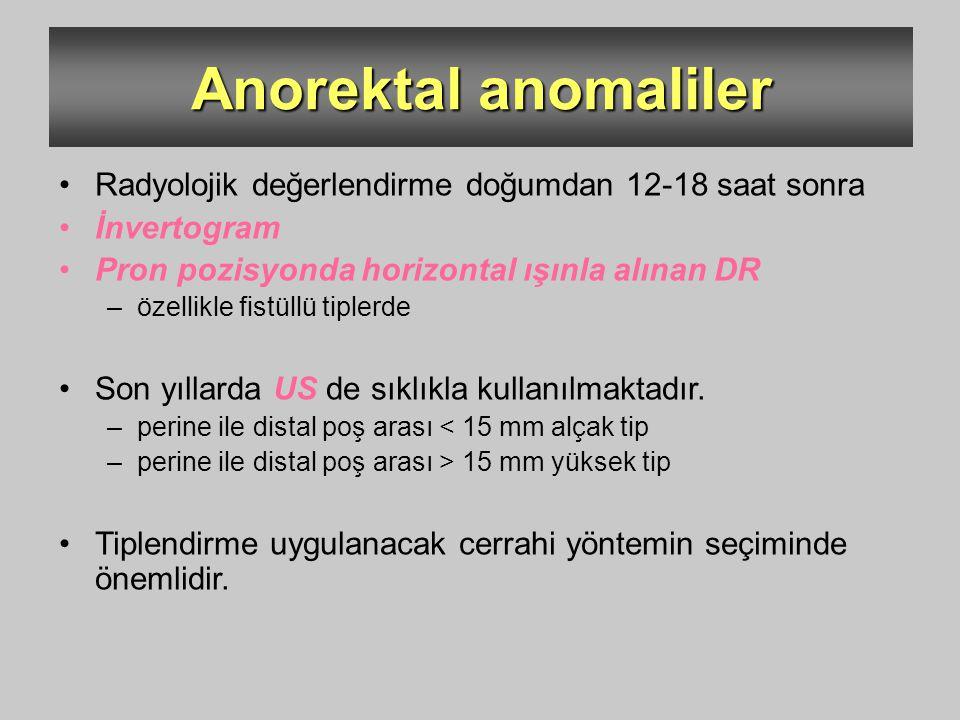 Anorektal anomaliler Radyolojik değerlendirme doğumdan 12-18 saat sonra İnvertogram Pron pozisyonda horizontal ışınla alınan DR –özellikle fistüllü ti
