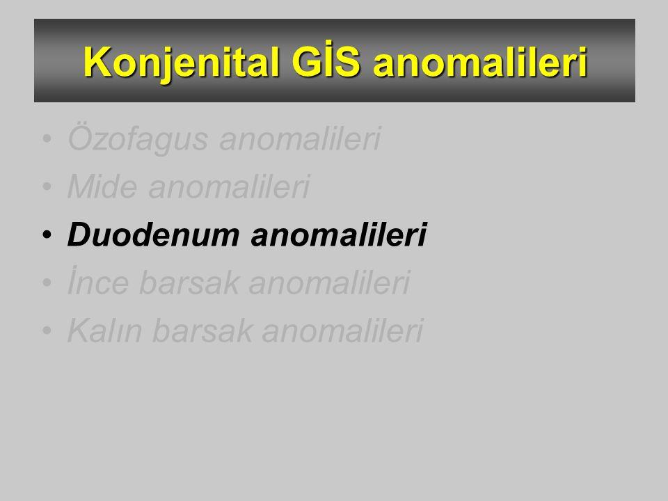 Konjenital GİS anomalileri Özofagus anomalileri Mide anomalileri Duodenum anomalileri İnce barsak anomalileri Kalın barsak anomalileri