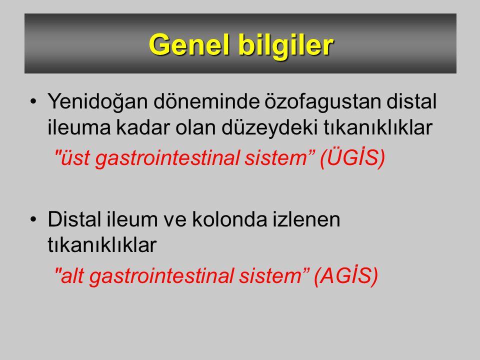 Özofagus anomalileri Mide anomalileri Duodenum anomalileri İnce barsak anomalileri Kalın barsak anomalileri Konjenital GİS anomalileri