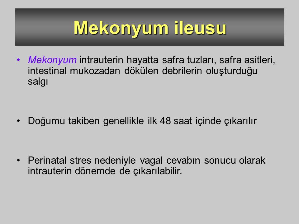 Mekonyum ileusu Mekonyum intrauterin hayatta safra tuzları, safra asitleri, intestinal mukozadan dökülen debrilerin oluşturduğu salgı Doğumu takiben g