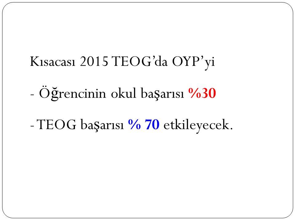 Kısacası 2015 TEOG'da OYP'yi - Ö ğ rencinin okul ba ş arısı %30 - TEOG ba ş arısı % 70 etkileyecek.