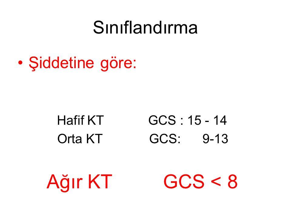 Şiddetine göre: Hafif KT GCS : 15 - 14 Orta KT GCS: 9-13 Ağır KT GCS < 8 Sınıflandırma