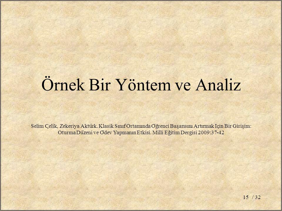 Örnek Bir Yöntem ve Analiz / 3215 Selim C ̧ eli ̇ k, Zekeriya Aktu ̈ rk.