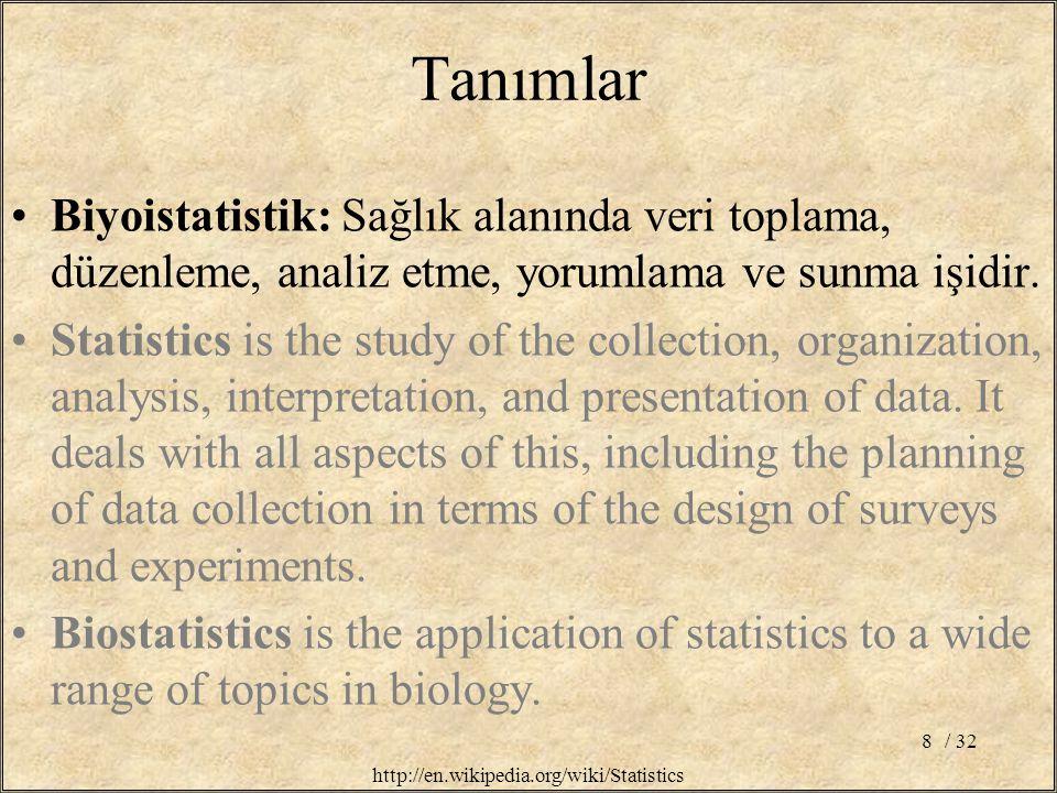 / 328 Tanımlar Biyoistatistik: Sağlık alanında veri toplama, düzenleme, analiz etme, yorumlama ve sunma işidir.