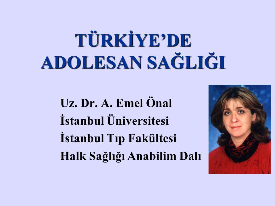 TÜRKİYE'DE ADOLESAN SAĞLIĞI Uz. Dr. A. Emel Önal İstanbul Üniversitesi İstanbul Tıp Fakültesi Halk Sağlığı Anabilim Dalı
