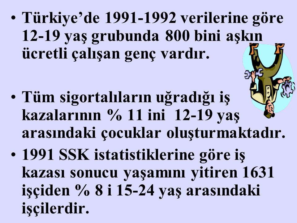 Türkiye'de 1991-1992 verilerine göre 12-19 yaş grubunda 800 bini aşkın ücretli çalışan genç vardır. Tüm sigortalıların uğradığı iş kazalarının % 11 in