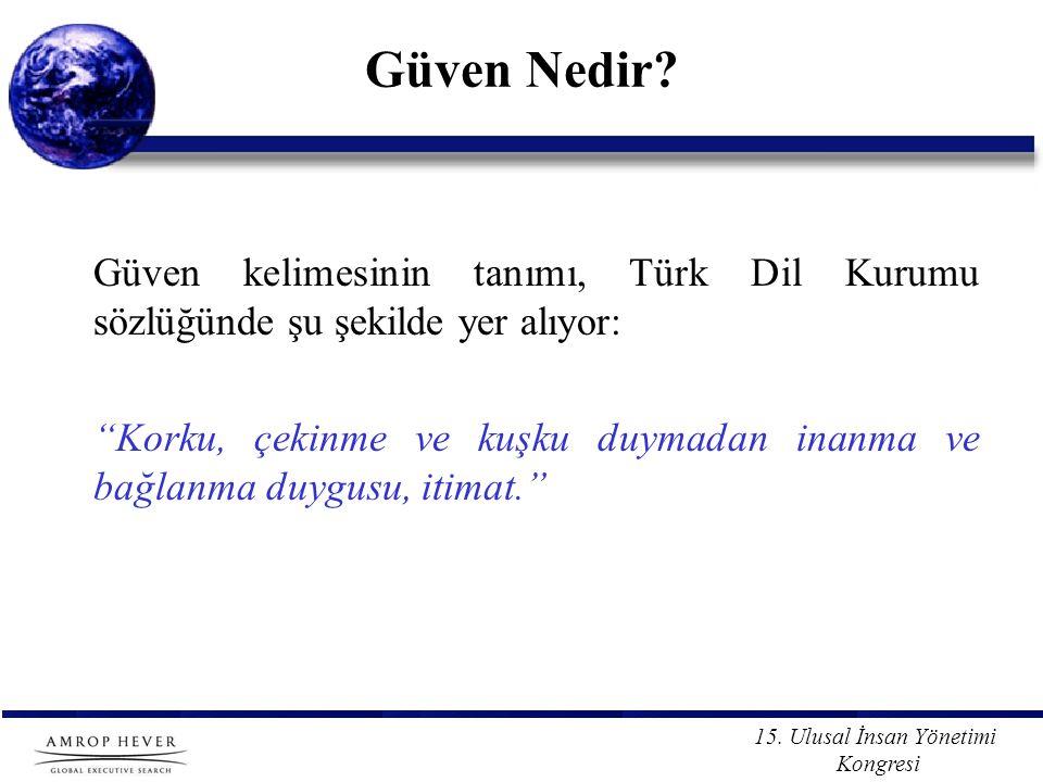 """15. Ulusal İnsan Yönetimi Kongresi Güven Nedir? Güven kelimesinin tanımı, Türk Dil Kurumu sözlüğünde şu şekilde yer alıyor: """"Korku, çekinme ve kuşku d"""