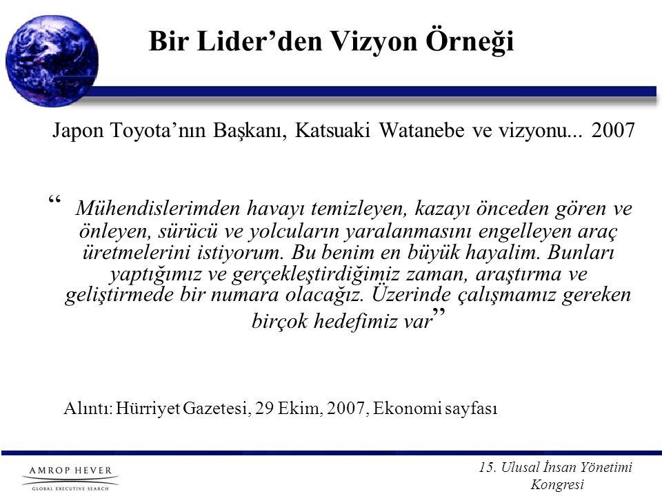 """15. Ulusal İnsan Yönetimi Kongresi Bir Lider'den Vizyon Örneği Japon Toyota'nın Başkanı, Katsuaki Watanebe ve vizyonu... 2007 """" Mühendislerimden havay"""