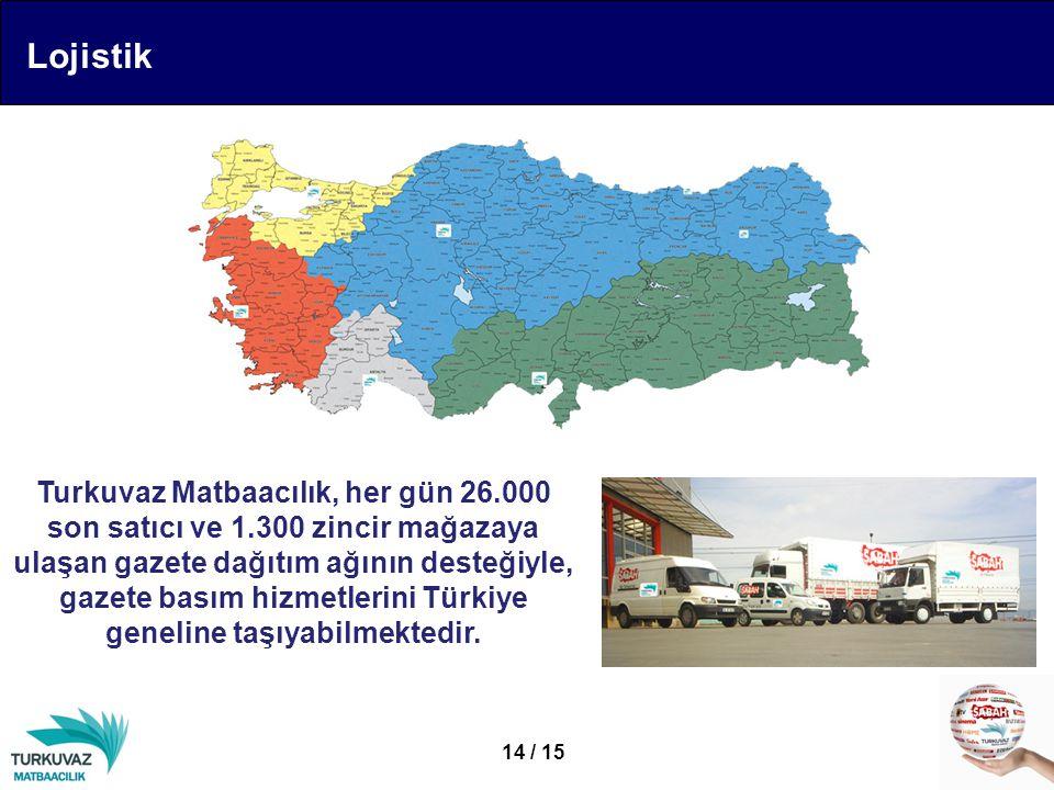 Lojistik Turkuvaz Matbaacılık, her gün 26.000 son satıcı ve 1.300 zincir mağazaya ulaşan gazete dağıtım ağının desteğiyle, gazete basım hizmetlerini Türkiye geneline taşıyabilmektedir.