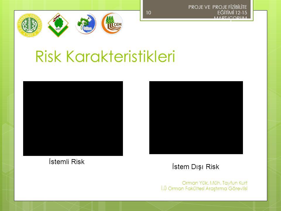 PROJE VE PROJE FİZİBİLİTE EĞİTİMİ 12-15 MART/ÇORUM Orman Yük. Müh. Tayfun Kurt İ.Ü Orman Fakültesi Araştırma Görevlisi 10 Risk Karakteristikleri İstem
