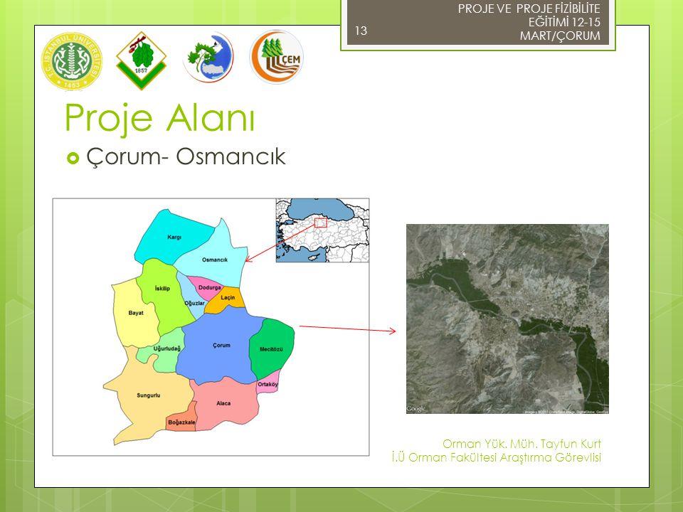 Proje Alanı  Çorum- Osmancık 13 PROJE VE PROJE FİZİBİLİTE EĞİTİMİ 12-15 MART/ÇORUM Orman Yük.