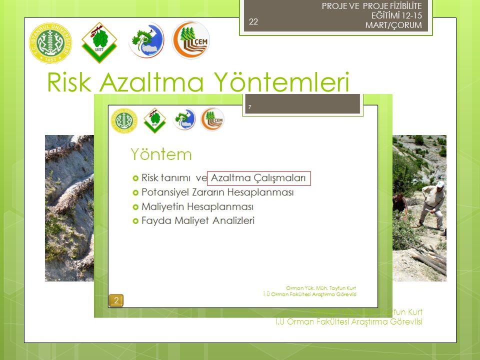 Risk Azaltma Yöntemleri PROJE VE PROJE FİZİBİLİTE EĞİTİMİ 12-15 MART/ÇORUM 22 Foto: Anonim  Örme Çit Tesisi Foto: Anonim Orman Yük. Müh. Tayfun Kurt