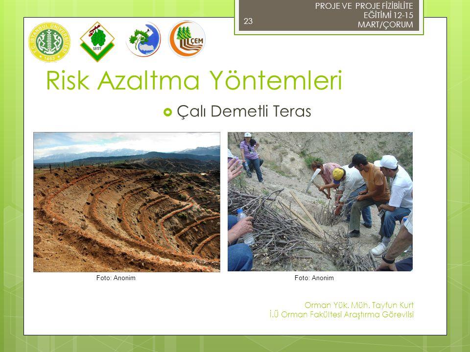 PROJE VE PROJE FİZİBİLİTE EĞİTİMİ 12-15 MART/ÇORUM 23 Risk Azaltma Yöntemleri  Çalı Demetli Teras Foto: Anonim Orman Yük. Müh. Tayfun Kurt İ.Ü Orman