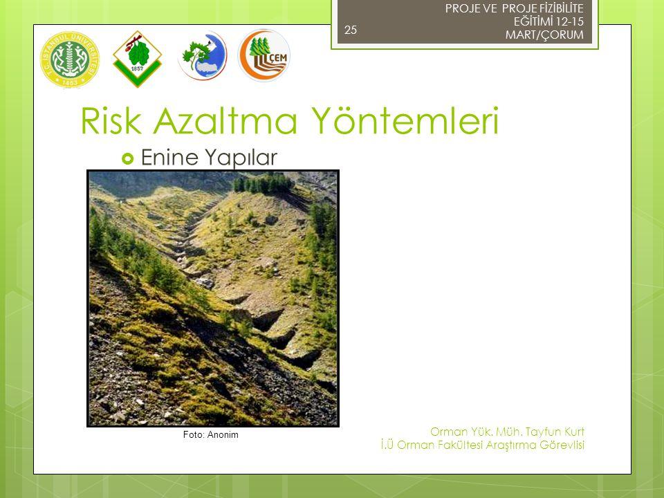 PROJE VE PROJE FİZİBİLİTE EĞİTİMİ 12-15 MART/ÇORUM 25  Enine Yapılar Risk Azaltma Yöntemleri Orman Yük. Müh. Tayfun Kurt İ.Ü Orman Fakültesi Araştırm