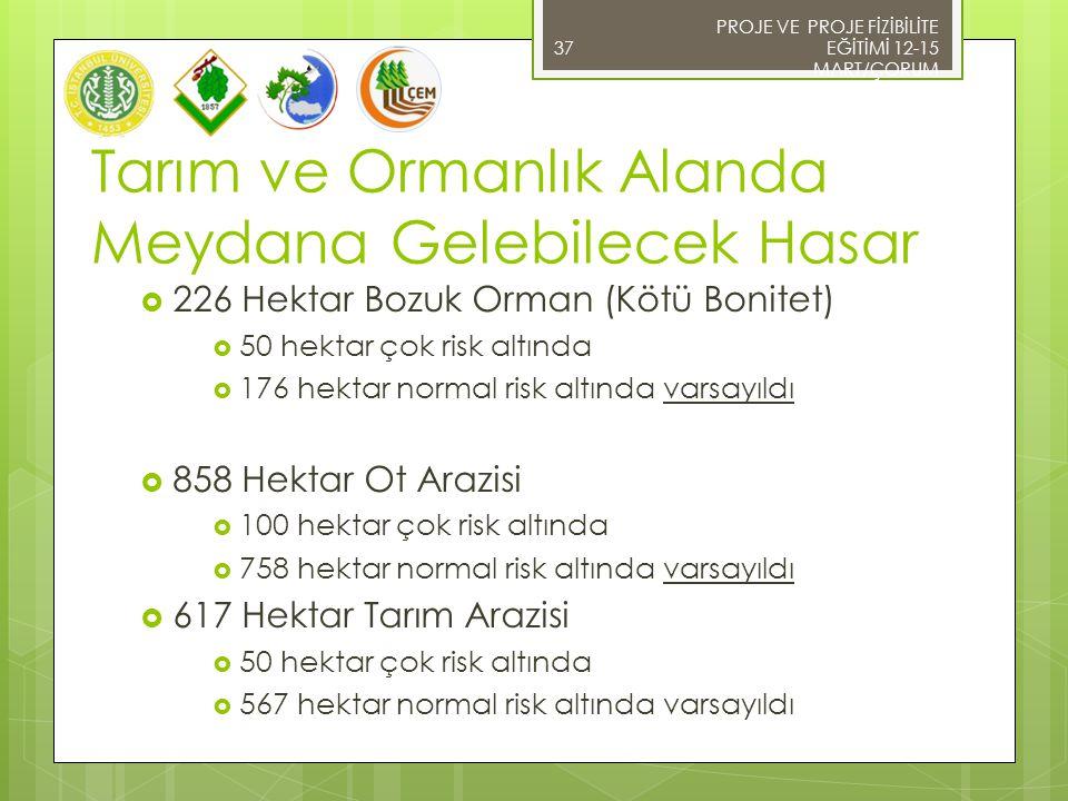  226 Hektar Bozuk Orman (Kötü Bonitet)  50 hektar çok risk altında  176 hektar normal risk altında varsayıldı  858 Hektar Ot Arazisi  100 hektar