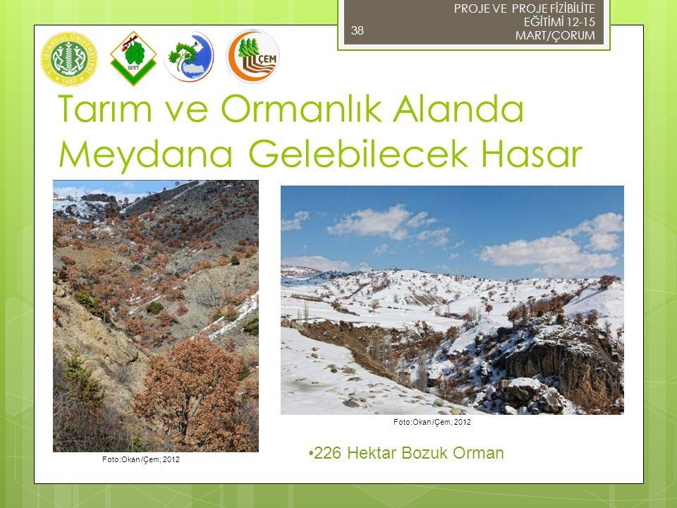 38 Foto:Okan /Çem, 2012 PROJE VE PROJE FİZİBİLİTE EĞİTİMİ 12-15 MART/ÇORUM Tarım ve Ormanlık Alanda Meydana Gelebilecek Hasar 226 Hektar Bozuk Orman