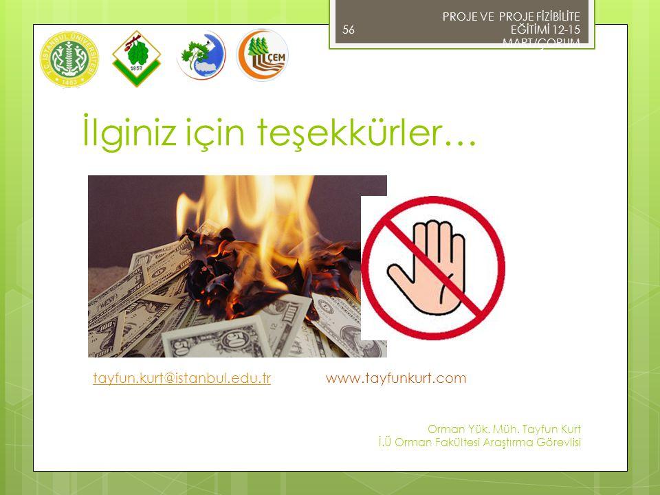 İlginiz için teşekkürler… tayfun.kurt@istanbul.edu.tr www.tayfunkurt.com tayfun.kurt@istanbul.edu.tr 56 PROJE VE PROJE FİZİBİLİTE EĞİTİMİ 12-15 MART/Ç